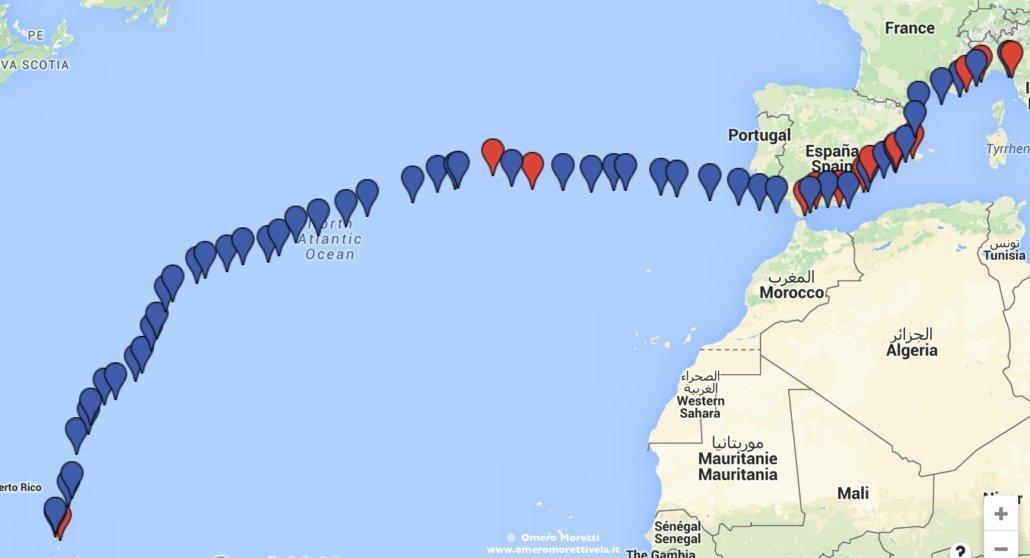 traversata atlantica a vela ritorno rotta